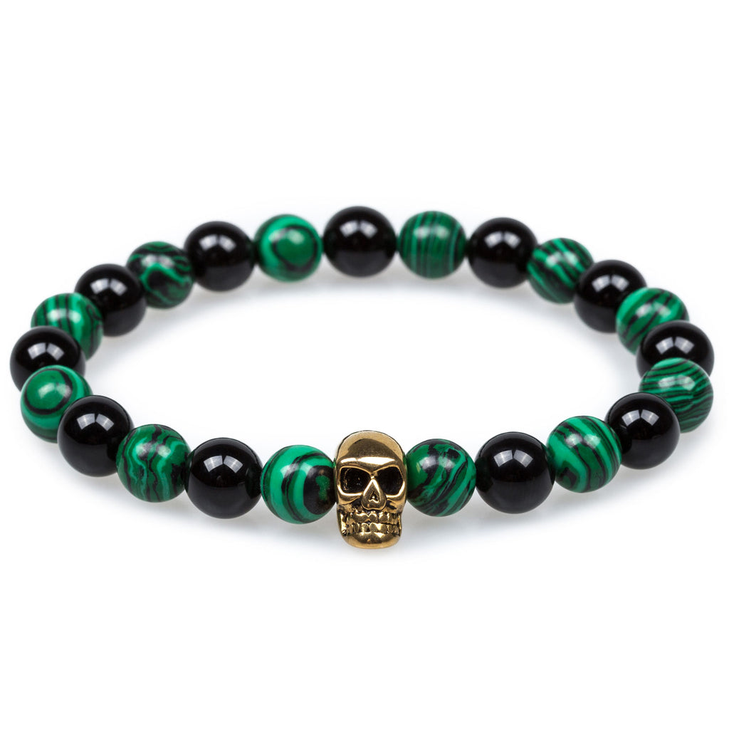 Green Malachite Gold Skull Bracelet