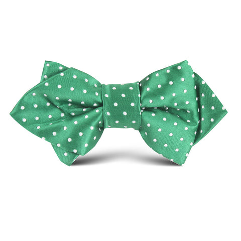 Green Mini Polkadot Kids Diamond Bow Tie