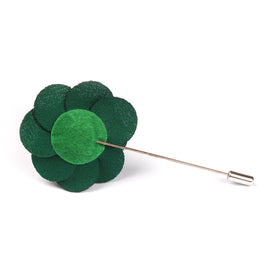 Jungle Green Lapel Flower Pin Front Boutonniere
