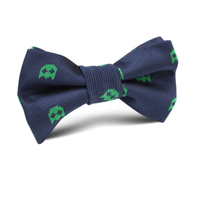 Green Pixel Ghost Kids Bow Tie
