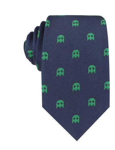 Green Pixel Ghost Necktie