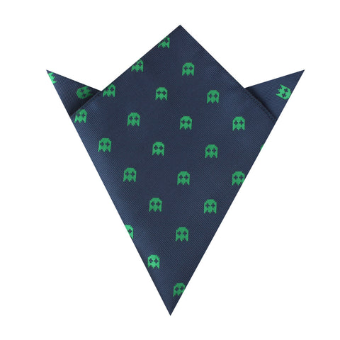 Green Pixel Ghost Pocket Square