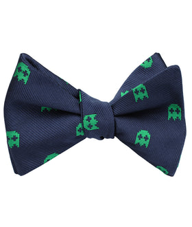 Green Pixel Ghost Self Bow Tie