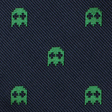 Green Pixel Ghost Skinny Tie Fabric