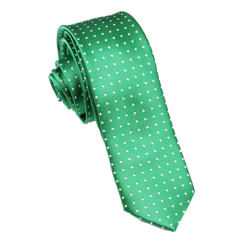 Green Skinny Tie with White Polka Dots