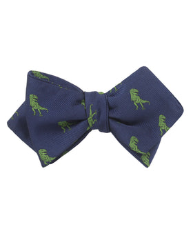 Green T-Rex Dinosaur Diamond Self Bow Tie