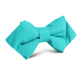 Green Teal Cotton Diamond Bow Tie