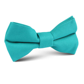 Green Teal Cotton Kids Bow Tie