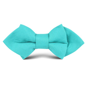 Green Teal Cotton Kids Diamond Bow Tie