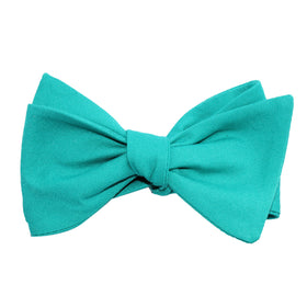 Green Teal Cotton Self Tie Bow Tie