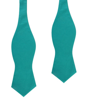 Green Teal Cotton Self Tie Diamond Bow Tie