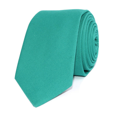 Green Teal Cotton Skinny Tie