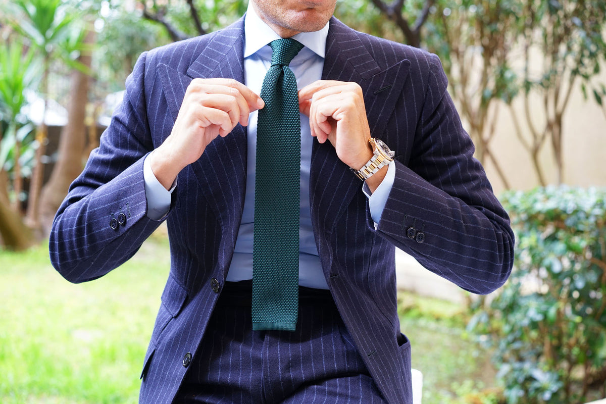 Green Teal Knitted Tie