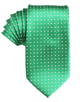 Green Tie with White Polka Dots