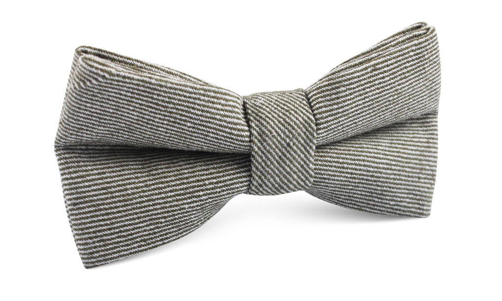 Green & White Twill Stripe Linen Bow Tie