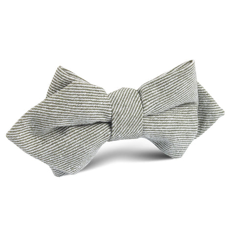 Green & White Twill Stripe Linen Diamond Bow Tie