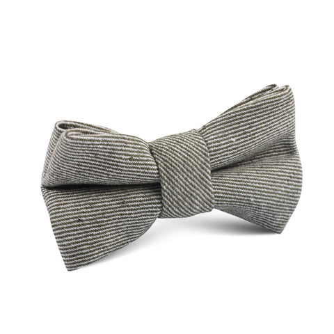 Green & White Twill Stripe Linen Kids Bow Tie