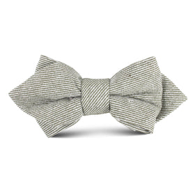 Green & White Twill Stripe Linen Kids Diamond Bow Tie