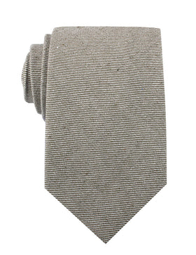 Green & White Twill Stripe Linen Necktie