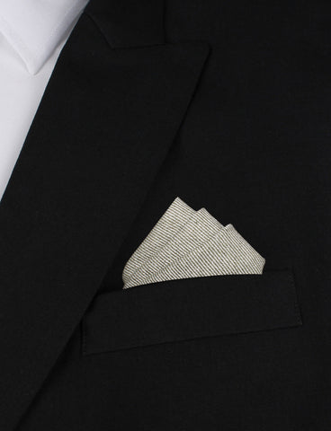 Green & White Twill Stripe Linen Pocket Square
