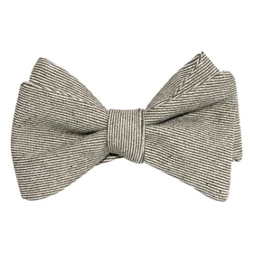 Green & White Twill Stripe Linen Self Tie Bow Tie
