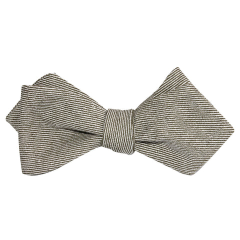 Green & White Twill Stripe Linen Self Tie Diamond Tip Bow Tie