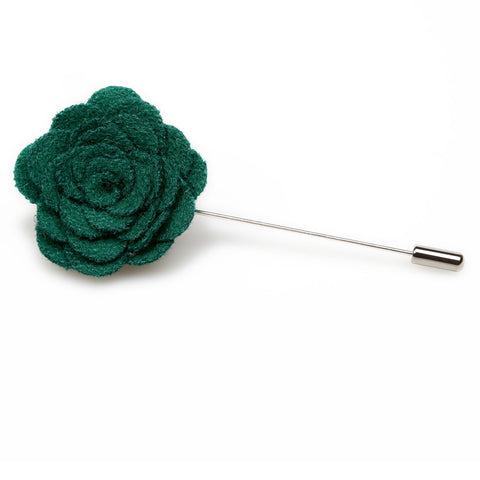 Green Wool Flower Lapel Pin