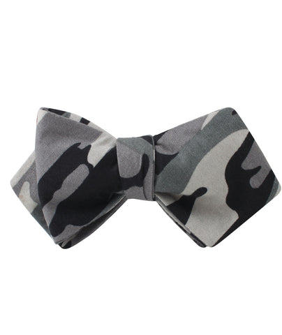 Grey Camo Diamond Self Bow Tie