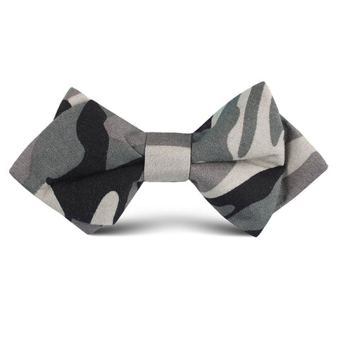 Grey Camo Kids Diamond Bow Tie