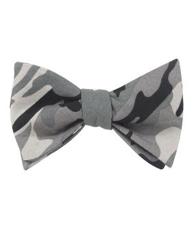 Grey Camo Self Bow Tie