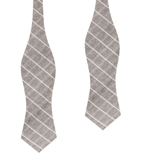 Grey Edinburgh Pinstripe Diamond Self Bow Tie