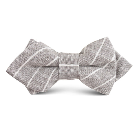 Grey Edinburgh Pinstripe Kids Diamond Bow Tie