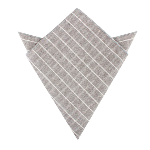 Grey Edinburgh Pinstripe Pocket Square