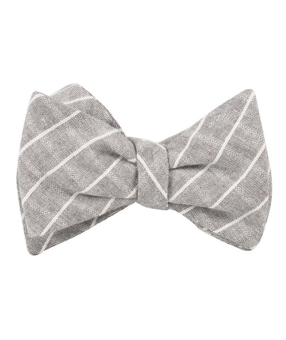 Grey Edinburgh Pinstripe Self Bow Tie