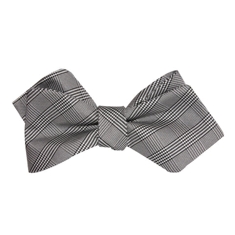 Grey Glen Plaid Self Tie Diamond Tip Bow Tie