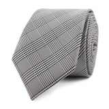 Grey Glen Plaid Skinny Tie Front Roll