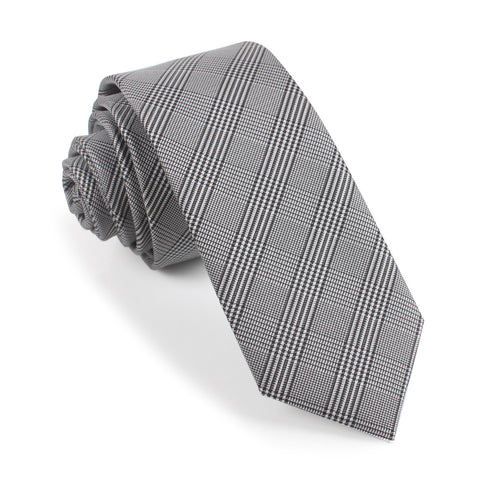 Grey Glen Plaid Skinny Tie