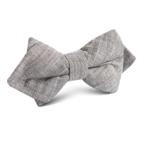 Grey Linen Chambray Diamond Bow Tie