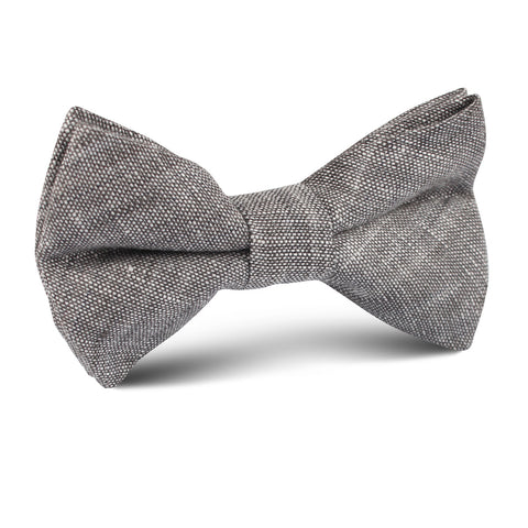 Grey Linen Chambray Kids Bow Tie