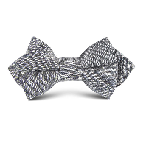 Grey Linen Chambray Kids Diamond Bow Tie