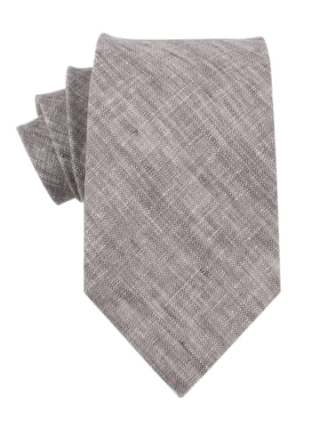 Grey Linen Chambray Necktie
