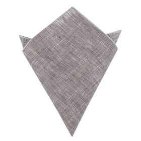 Grey Linen Chambray Pocket Square