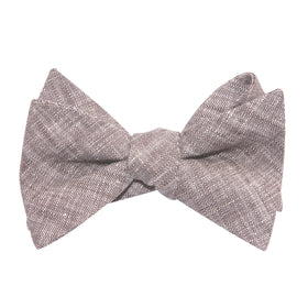 Grey Linen Chambray Self Tie Bow Tie