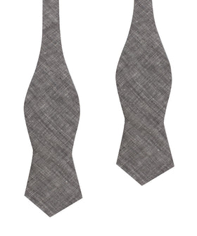 Grey Linen Chambray Self Tie Diamond Bow Tie