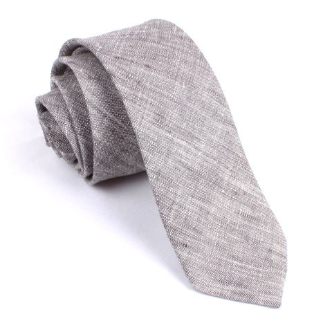 Grey Linen Chambray Skinny Tie