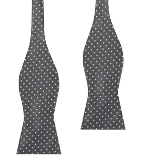 Grey Mini Polka Dots Self Bow Tie