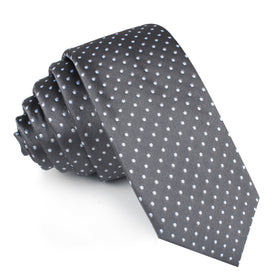 Grey Mini Polka Dots Skinny Tie