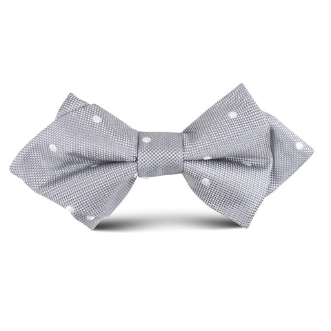 Grey Polka Dot Kids Diamond Bow Tie