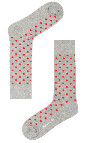 Grey Red Polka Dot Socks