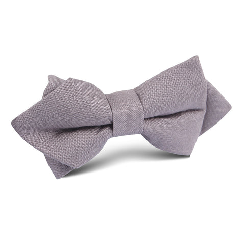 Grey Slub Linen Diamond Bow Tie